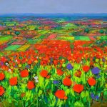 "Ulpiano Carrasco ""Slopie of Poppies"" (65x81cm.) 300€"