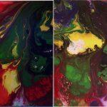 """M. Ciurana """"Abstraccion floral I- II"""" (50x50cm.) Acrílico s/lienzo 3D 400€/ud los dos 650 €"""