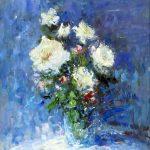 """C. Giner """"Bouquet en azules y blancos"""" (61x38cm.) Óleo 900€"""