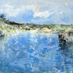 """C. Giner """"Reflejos en el pantano"""" (55x38cm.) Óleo 800€"""