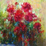 "C. Giner ""Rosas rojas"" (73x50cm.) Óleo. 1.200 €"