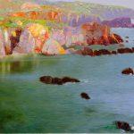 "P. Roldán ""Tarde en calma. Cabo Sardao, Portugal"" Óleo (60 x 30 cm.) 2.650€"
