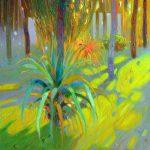"""P. Roldán """"Contraluz en el jardin II. Rute"""" Óleo (34,5x20cm.) 1.500€"""