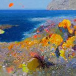 "P. Roldán ""Marea baja. Cabo de Gata"" Óleo (40 x 23 cm.) 1.600€"