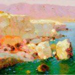 "P. Roldán ""Luz de tarde. Cabo de Gata"" Óleo (25 x 13 cm.) 2.500€"