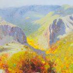 """P. Roldán """"Valle del silencio. Ponferrada"""" Óleo (41,5 x 20,5 cm.) 1.600€"""