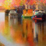 """P. Roldán """"Calma y luz en el canal. Canal du Midi"""" Óleo (49x35'5 cm.) 2.200€"""