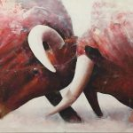 "R. Pommer ""Poderío"" Acrílico (160 x 80 cm.) 950 €."