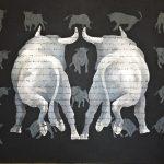 """R. Pommer """"El diseño"""" Acrílico (180 x 130 cm.) 1.400 €"""
