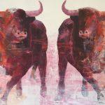 "R. Pommer ""Carrera de titanes"" Acrílico (170 x 130 cm.) 1.400 €."