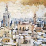"""J. A. Tenorio """"Valencia a Vista de Pájaro"""" Técnica mixta (90 x 30'5 cm.) 1.300€"""