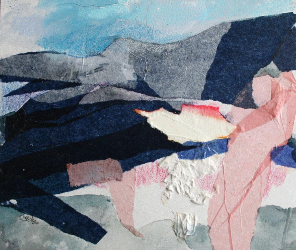 Glaciar rosa , (serie paisajes inacabados) 21X26 Tec. Mixta